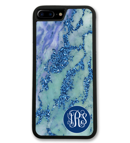 Blue Marbled iPhone Case - Glitter Like Monogrammed