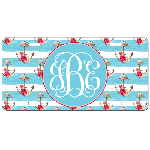 Monogrammed Car Tag - Floral Anchors Front License Plate