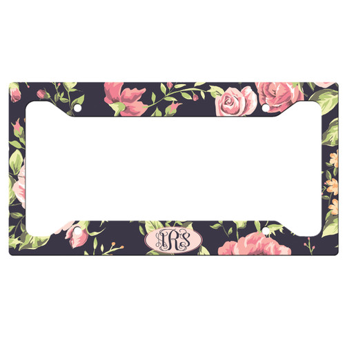 Monogrammed Car Tag - Floral Roses License Plate Car Tag