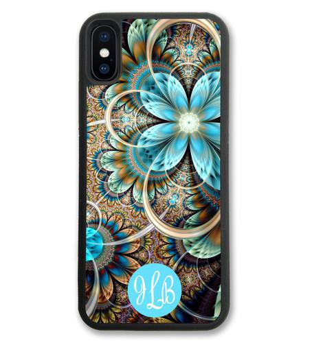 Turquoise Flower iPhone X Case, iPhone 10 Case, iPhone 8 Case, iPhone 8 Plus Case