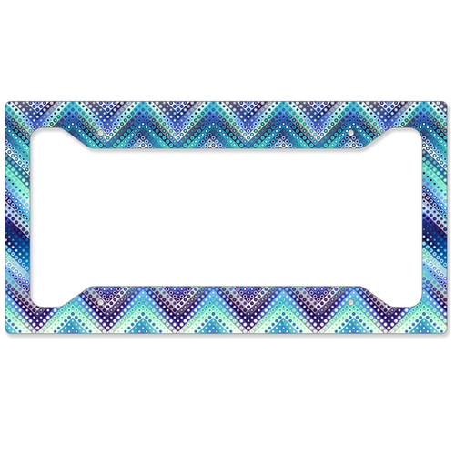 Auto License Plate Frame, Car Tag Frame, License Plate Cover, Bright Boho Chevrons