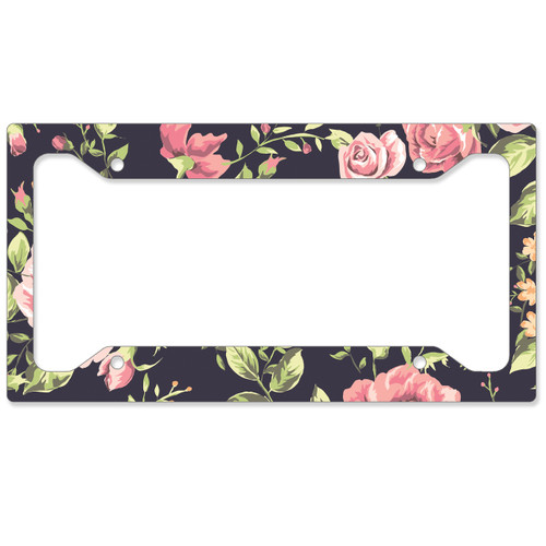 Auto License Plate Frame, Car Tag Frame, License Plate Cover, Floral Roses
