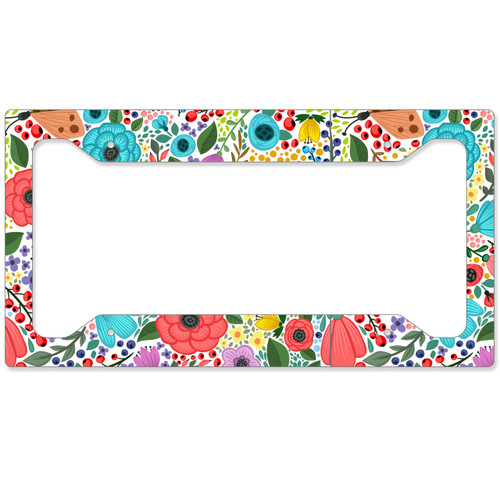 Auto License Plate Frame, Car Tag Frame, License Plate Cover, Boho Flowers