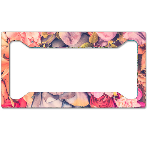 Auto License Plate Frame, Car Tag Frame, License Plate Cover, Watercolor Flowers