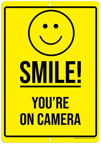 Smile You're On Camera Yellow Aluminum Indoor Outdoor Rust Free Aluminum