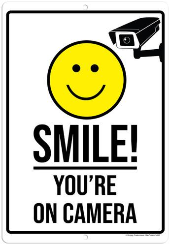 Smile You're On Camera White Aluminum Indoor Outdoor Rust Free Aluminum