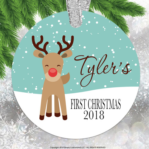 Baby's First Christmas - Cute Reindeer Double Sided Aluminum