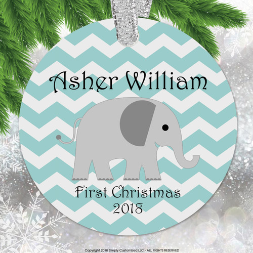 Baby's First Christmas Green Neutral Chevrons Elephant - Double Sided Aluminum