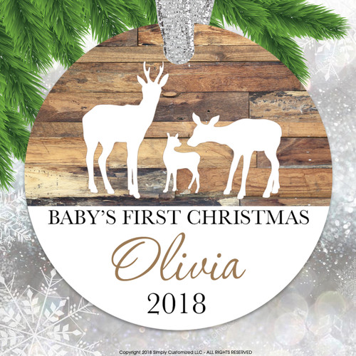 Baby's First Christmas Wood Look Deer - Double Sided Aluminum
