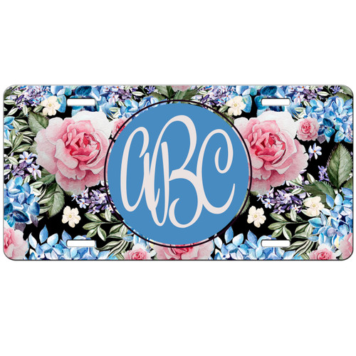 Floral License Plate, Hydrangea Flowers Custom License Plate, Personalized License Plate