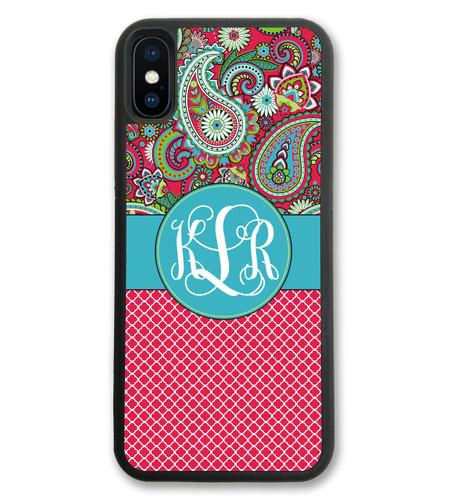 iPhone Case - Paisley Red Lattice Quatrefoil