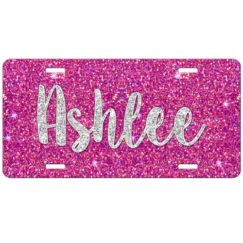 Monogrammed Car Tag - Hot Pink Silver Glitter