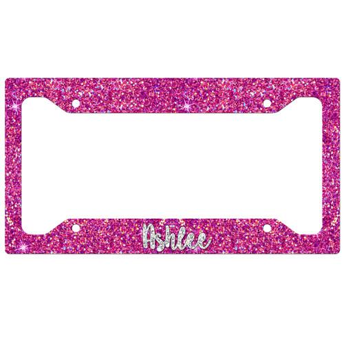 Monogrammed Car Tag Frame - Hot Pink Silver Glitter