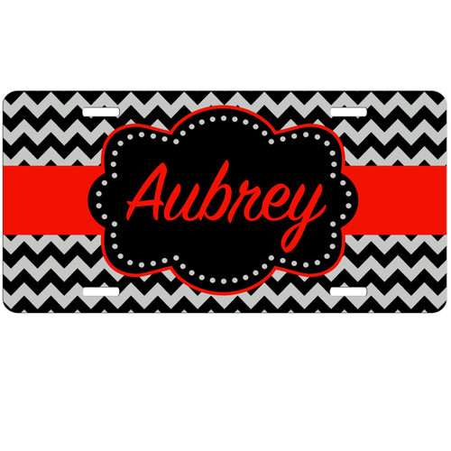Monogrammed Car Tag - Black Red Chevron