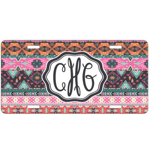 Monogrammed Car Tag - Pink Hipster Aztec