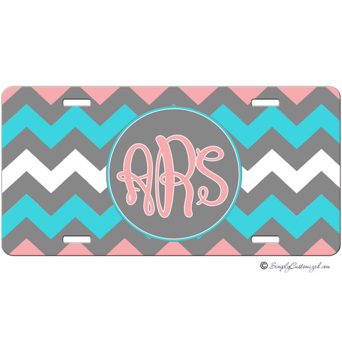 Monogrammed Car Tag - Tri Color Thick Chevrons Monogram - Grey Pink Turquoise