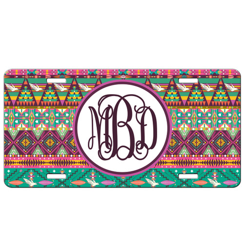 Monogrammed Car Tag - Hipster Aztec