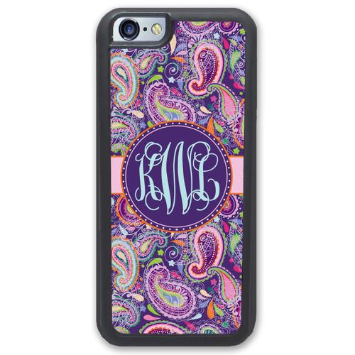 iphone case monogrammed - pretty purple paisley monogram