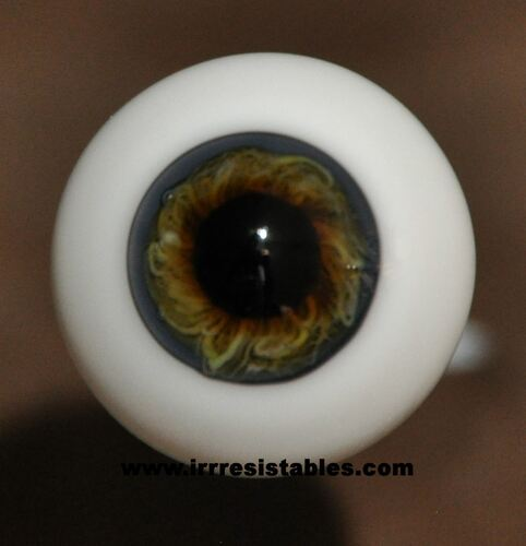 German Glass Eyes: Full Round Blue Grey Brown #21