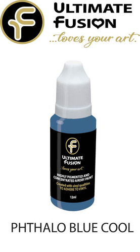 Ultimate Fusion All in One Air Dry Paint PHTHALO BLUE COOL  12ml Bottle
