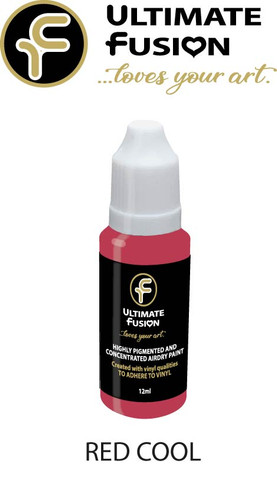 Ultimate Fusion All in One Air Dry Paint RED COOL 12ml Bottle