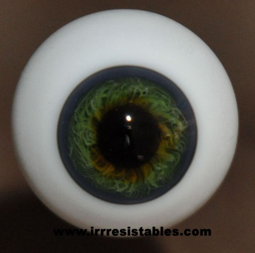 German Glass Eyes: Full Round Blue Grey Green #14