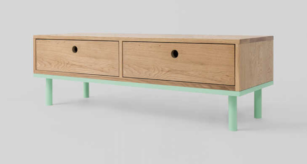 MODERN FURNITURE | ZAC CONSOLE: MINT | PRINT DECOR | SIDE VIEW