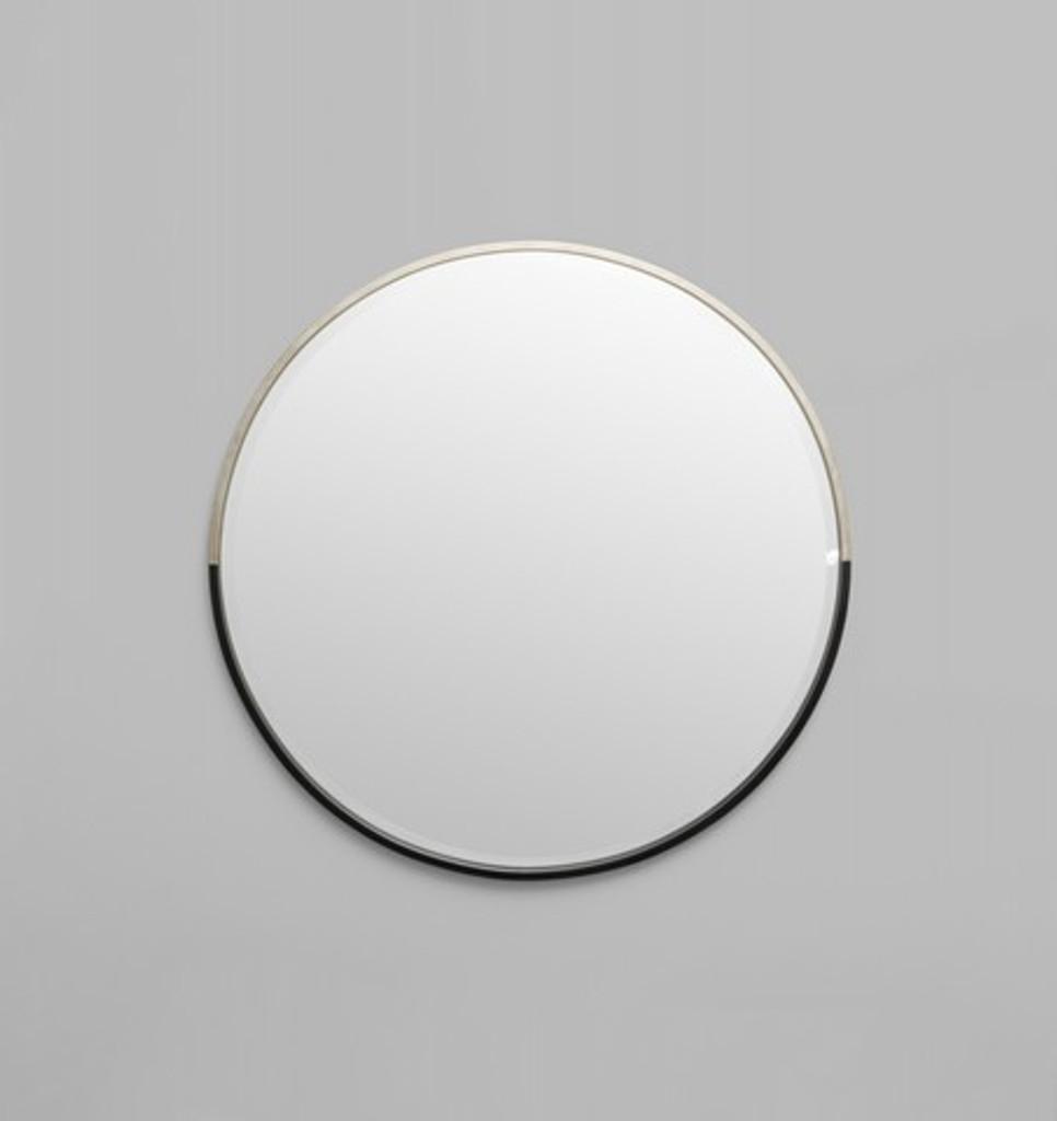 Silver & Black Round Mirror