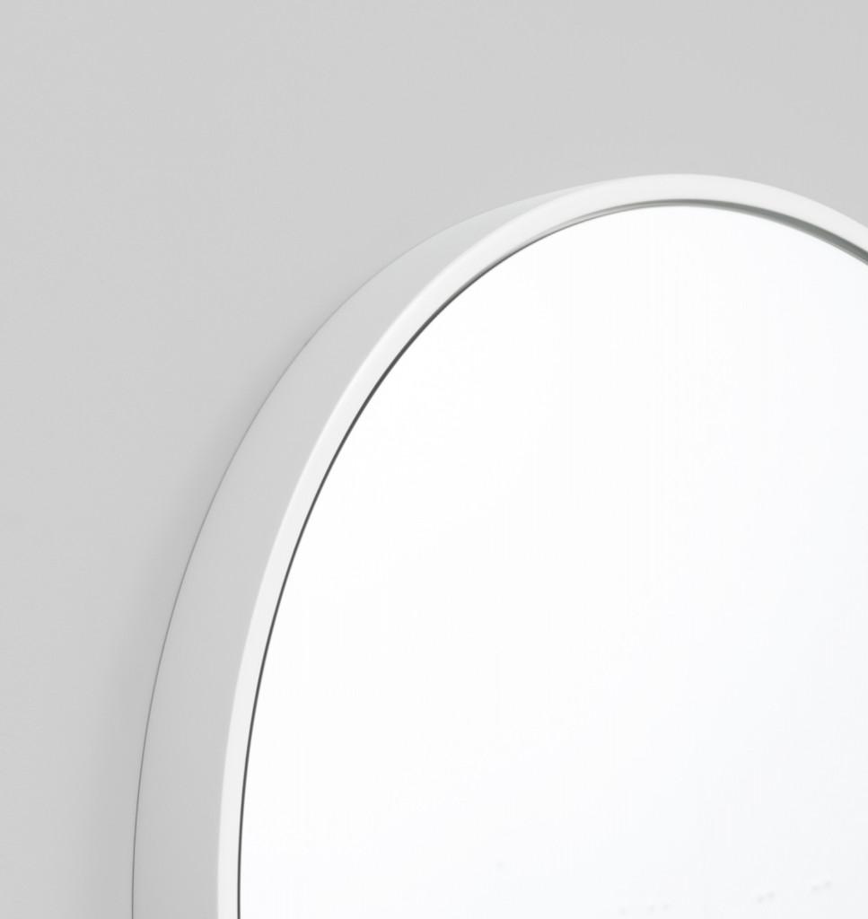 Modern Round Bella Gloss White Mirror | Print Decor | Detial
