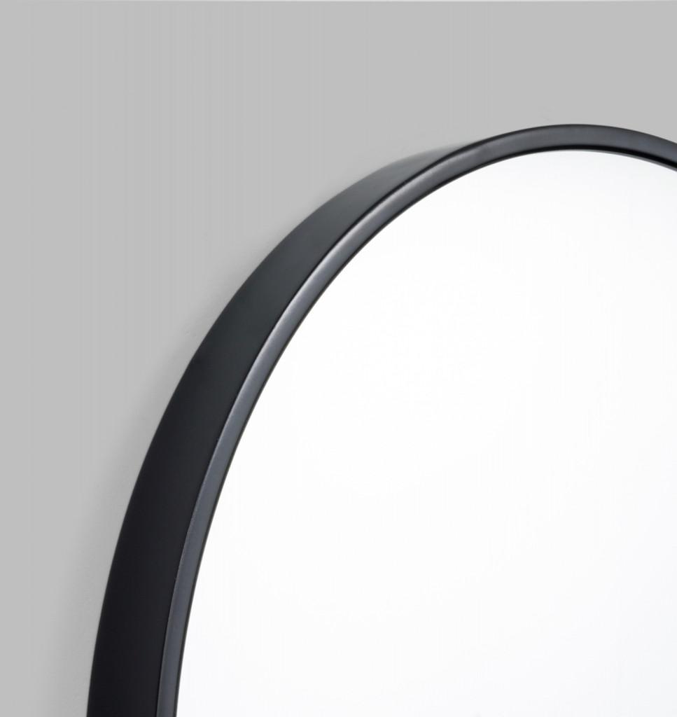 Modern Round Bella Gloss Black Mirror | Print Decor | Detail