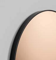 Modern Round Circular Mirror with copper tint, detail