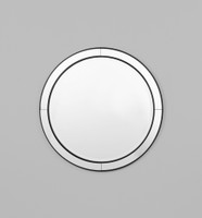 A round mirror with surrounding circular mirror panels