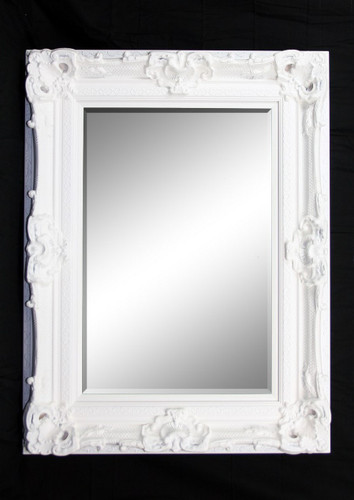 Print Décor - Grand Ornate White Beveled Mirror