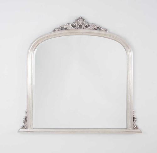 Domed Over Mantle Mirror (Warm Silver)