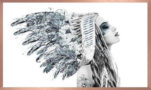 Framed in Rose Gold Frame | Girl in American Indian Headdress | Print Decor, Malvern