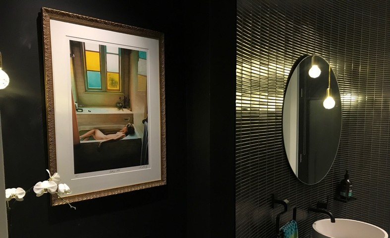 Bathroom with Mirror and Framed Art Print