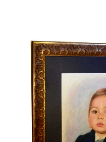 Detail of portrait in Ornate Gold Italian Bellini Frame