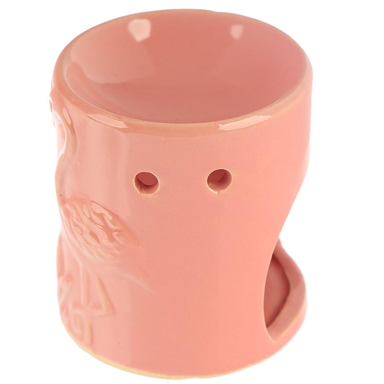 Ceramic Oil Burner With Pink Flamingos