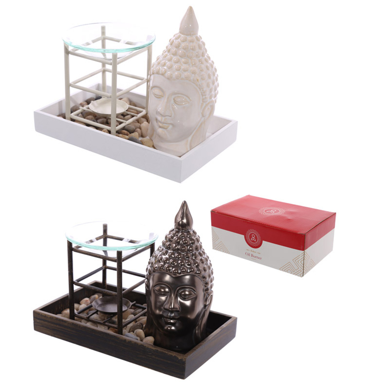 Ceramic Buddah Ornament And Premium Oil Burner Pebble Tray
