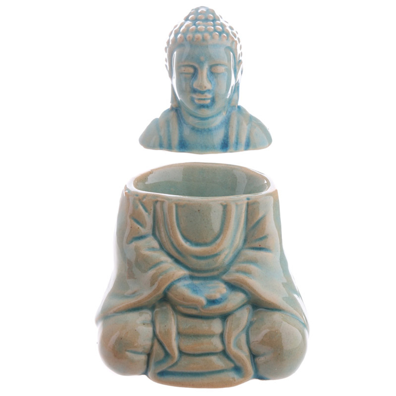 Ceramic Seated Thai Buddha Oil Burner With Lid