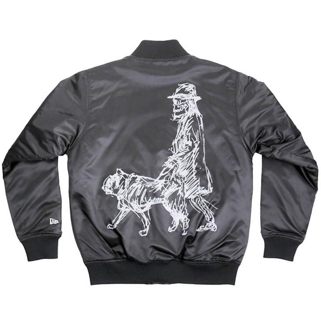 Black 'Dog Walking' Varsity Jacket