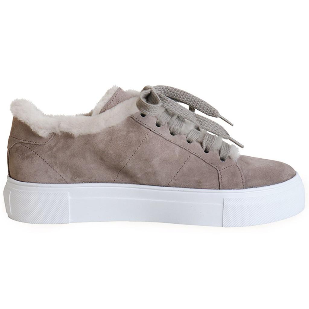 Taupe Suede & Shearling Platform Sneaker