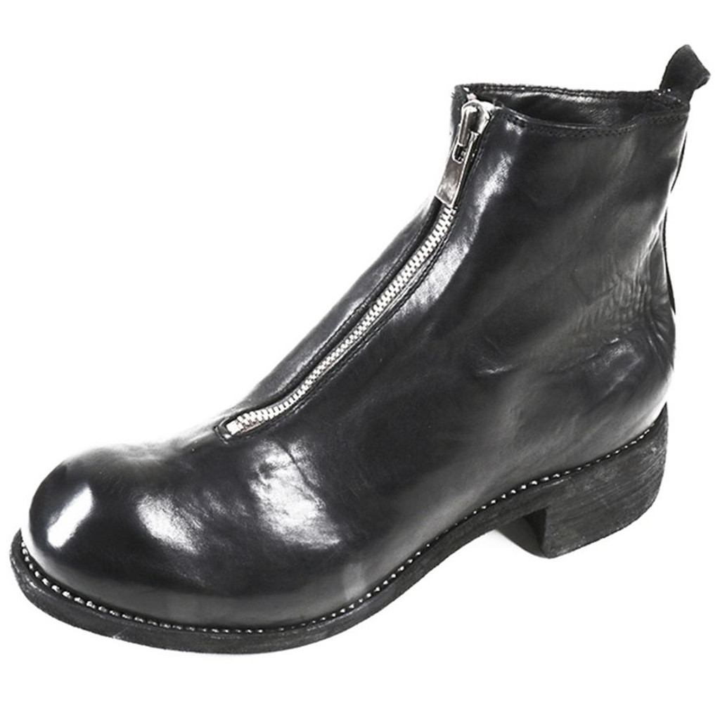 Black Front Zip Leather Boot