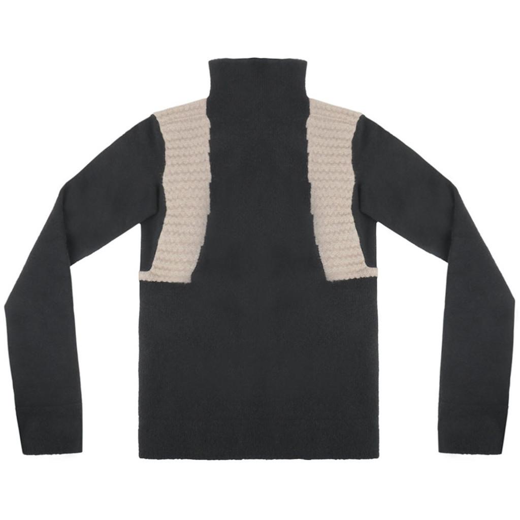 Black Funnel Neck Mock Wool Sweater