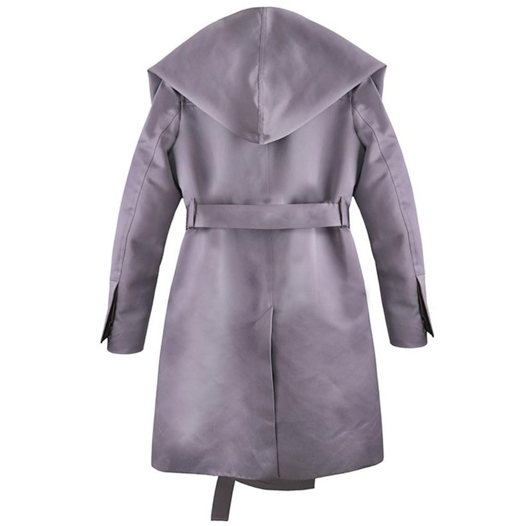 Plum Satin Hooded Coat