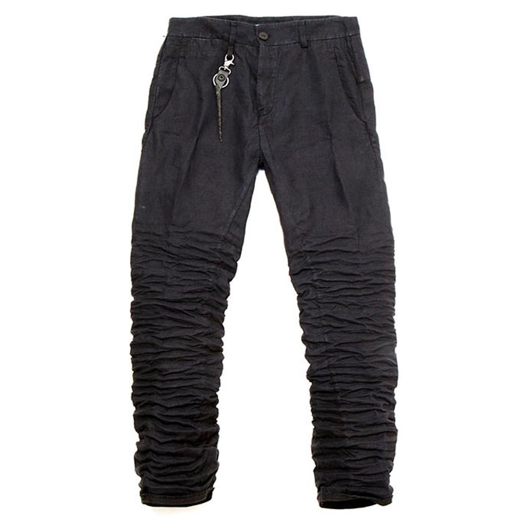 Dark Blue Linen Ruched Trouser