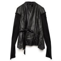 Knit-Sleeve Wrap Leather Jacket