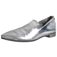 Silver Leather Slip On