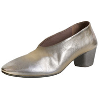 Gold Leather Stacked Heel