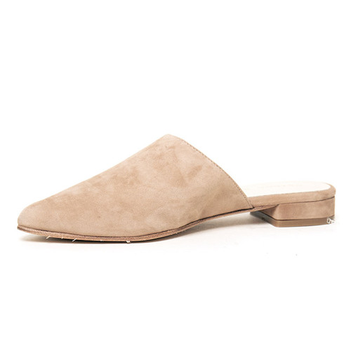 Taupe Suede Flat Mule